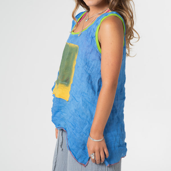 Bright blue sleeveless 2020 top