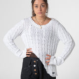 white cable asymmetric jumper