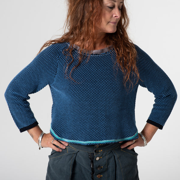 Blue knobbly jumper