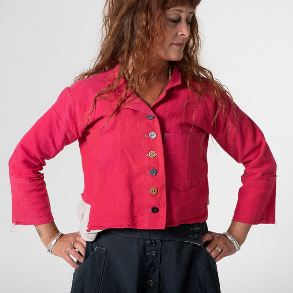 ruby red dyed crop jacket