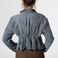 distressed vintage linen crop jacket