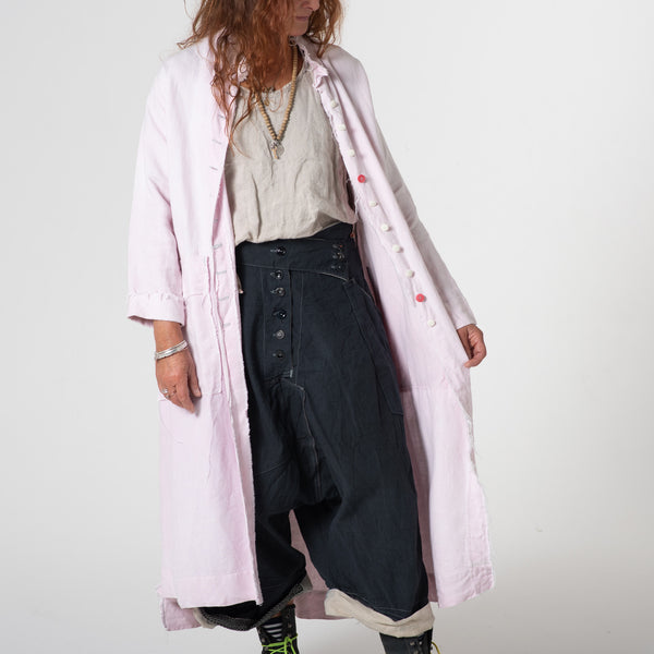 Pink vintage French dyed linen coat