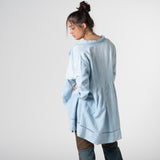 dyed blue vintage French linen coat