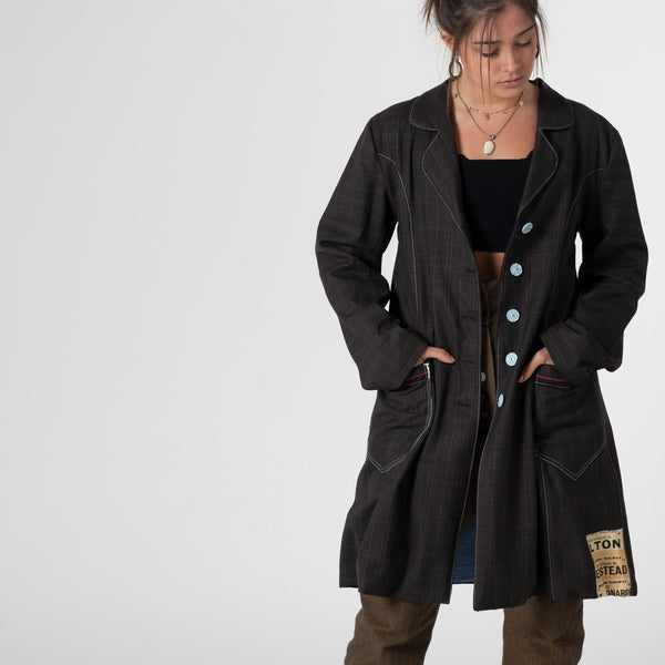 Brown self-check wool coat