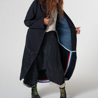 Re-hab full-length wool/canvas coat