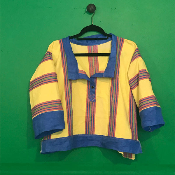 Yellow stripe cotton shirt