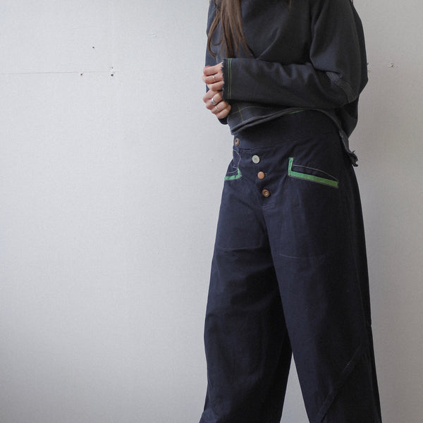 Dark navy oilcloth style fabric trousers.