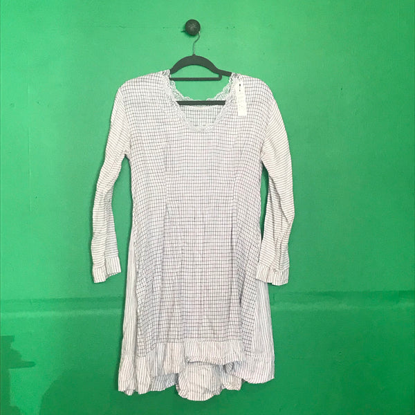 White check linen dress