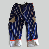 Striped dropped-crotch trousers