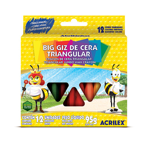 LÁPICES DE CERA TRIANGULAR 12 COLORES 95 GRS