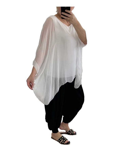 Floaty Silk Top - white - Lily's Loft