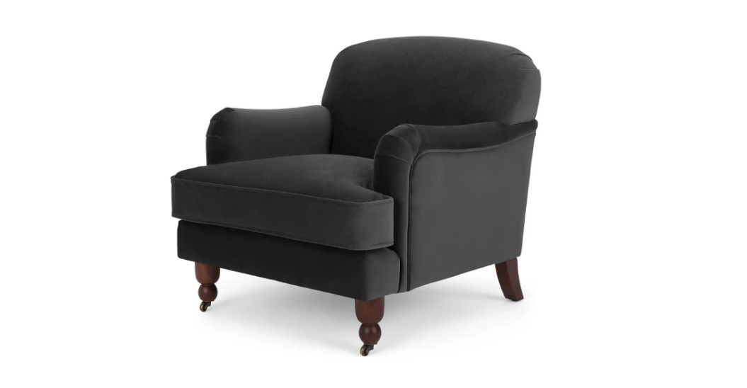 Orson Armchair, Small, Velvet Midnight Grey