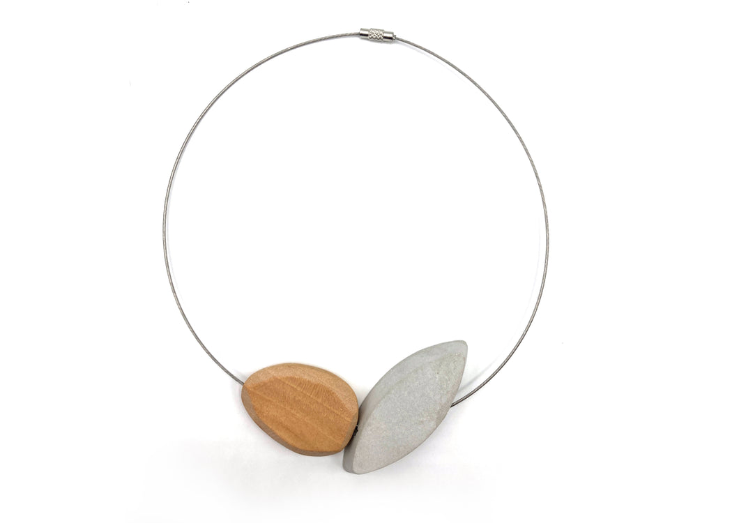 Wood and Cement Petal Necklace