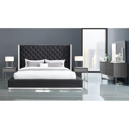 Abrazo Bed Frame Black Leather Tufted Headboard-Bed-Whiteline-ModLux_Living_furniture