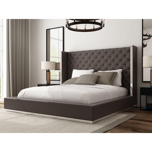 Abrazo Bed Frame Dark Grey Leather Tufted Headboard-Bed-Whiteline-ModLux_Living_furniture