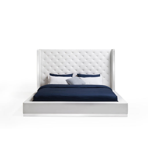 Abrazo Bed Frame White Leather Tufted Headboard-Bed-Whiteline-ModLux_Living_furniture