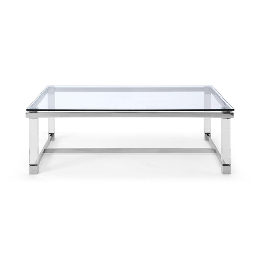 Brianna Rectangular Center Table with Glass Top-Coffee Table-Whiteline-CT1456R-ModLux_Living_furniture