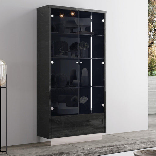Los Angeles Display Cabinet (Dark Grey)-Vitrine-Whiteline-CB1673-GRY-ModLux_Living_furniture