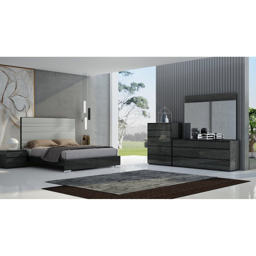 Malibu Bed Frame Upholstered Headboard (Grey/Taupe)-Bed-Whiteline-ModLux_Living_furniture