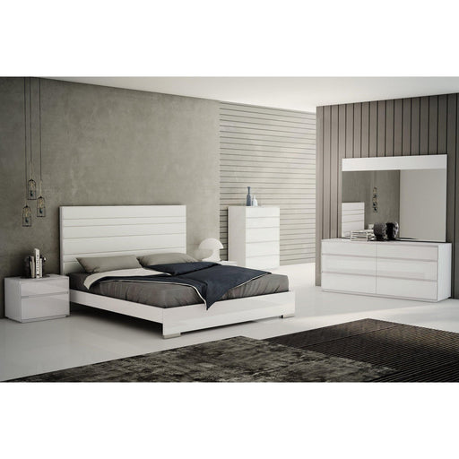 Malibu Bed Frame White Upholstered Headboard-Bed-Whiteline-ModLux_Living_furniture