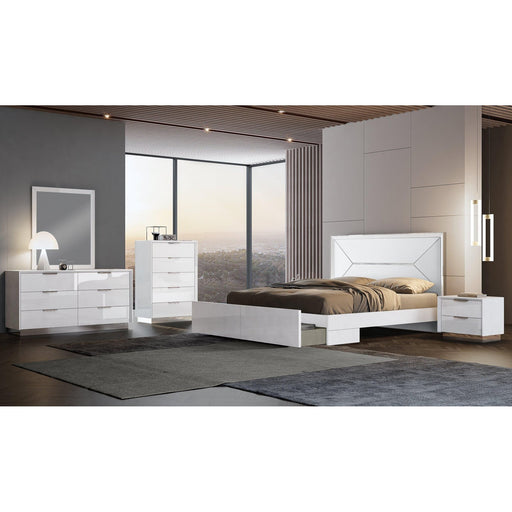 Navi Bed Frame White Leather Headboard & Storage Drawer-Bed-Whiteline-ModLux_Living_furniture