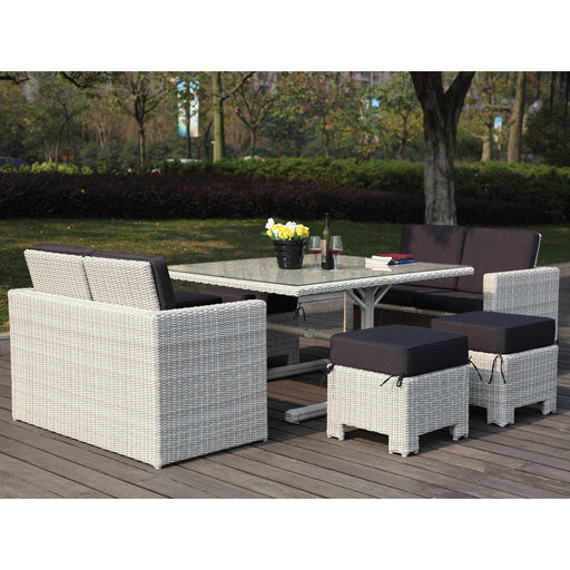 Robinson 7 Piece Outdoor Collection-Outdoor Set-Whiteline-COL1672-WHT-ModLux_Living_furniture