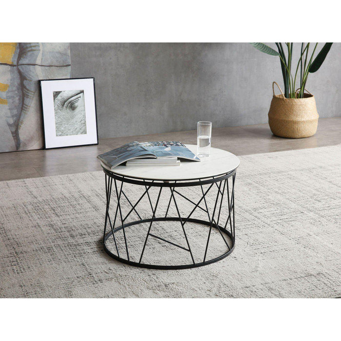 Zeus Side Table (White Ceramic)-Side Table-Whiteline-ST1629-WHT-ModLux_Living_furniture