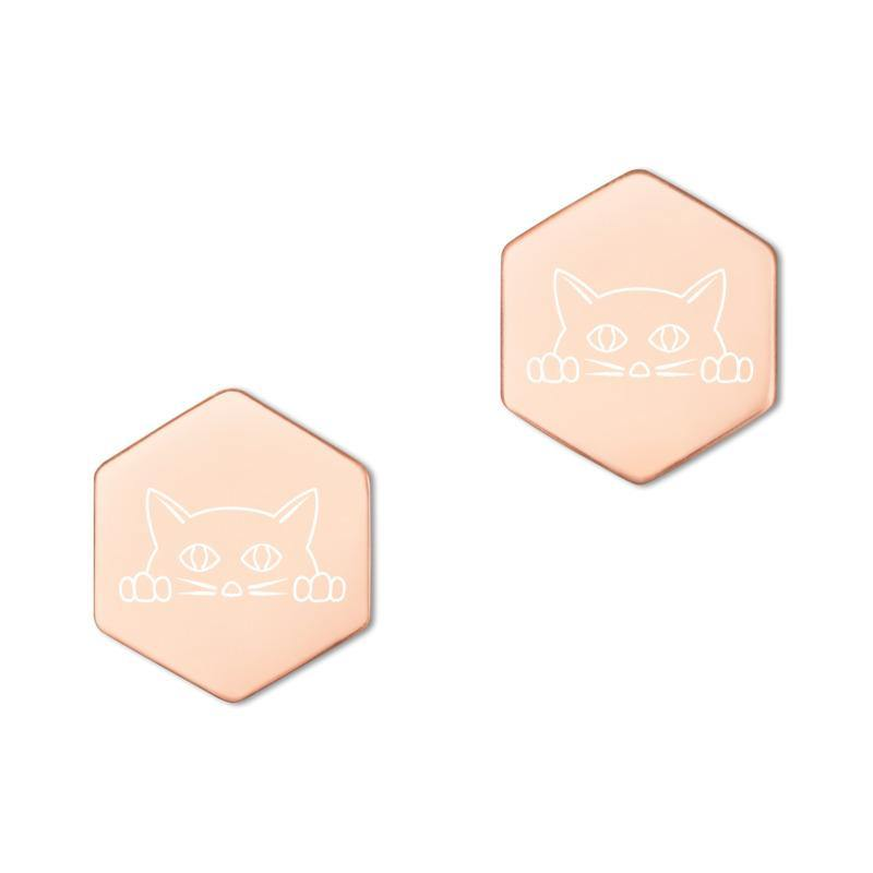 Cat Sterling Silver Hexagon Stud Earrings - SecondSkin Store