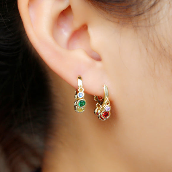 2019 rainbow cz dangle charm earring Gold color variou colored cubic zirconia round dot elegance fashion women mini  earring