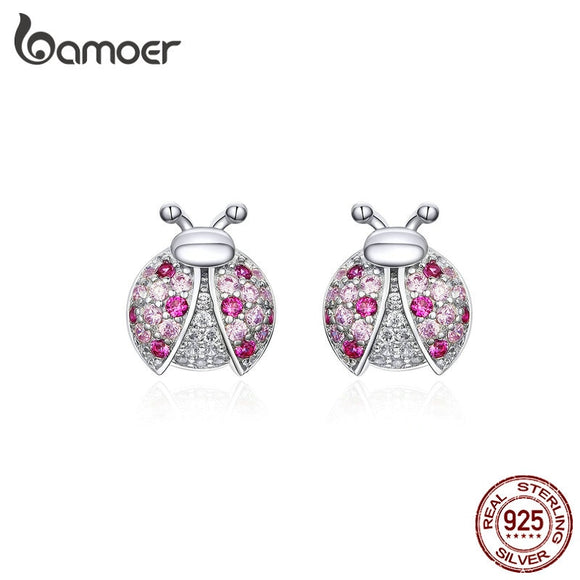 bamoer Pink Romantic Laybug Stud Earrings for Women 925 Sterling Silver Tiny Earrings for Girl Gfits Original Design SCE715