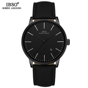 IBSO Brand Men's Quartz Watch Simple Business Quartz Watch For Men Leather Strap Wrist Watch without Digital dial Dropshipping