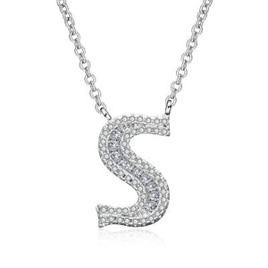 HPXmas Fashion 2019 new shiny cubic zirconia Crystal stone 26 letters Alphabet pendant necklace lady women females jewelry C52