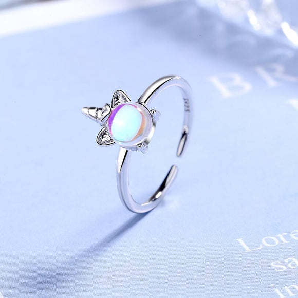 New Exquisite Color Moonstone Unicorn Opening Rings For Women 925 Sterling Silver Jewelry Accessories Party Gifts SAR106