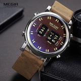MEGIR 2019 New Top Band Watches Men Military Sport Brown Leather Quartz Wrist Watch Luxury Drum Roller relogio masculino 2137