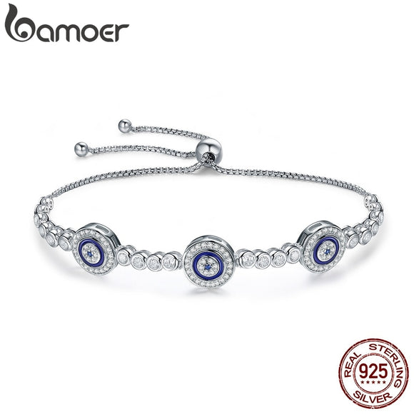 BAMOER New Arrival Genuine 925 Sterling Silver Luxury Round Blue Eyes Clear Cubic Zircon Crystal Tennis Bracelet Jewelry SCB002
