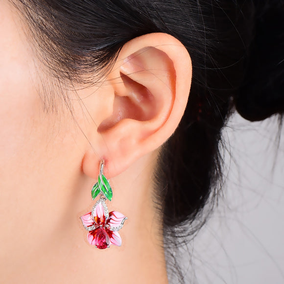 RainMarch Pink Flower Enamel Drop Earrings for Women Earrings Bohemian Vintage Dangle Earrings Female Jewelry Pendientes Brincos