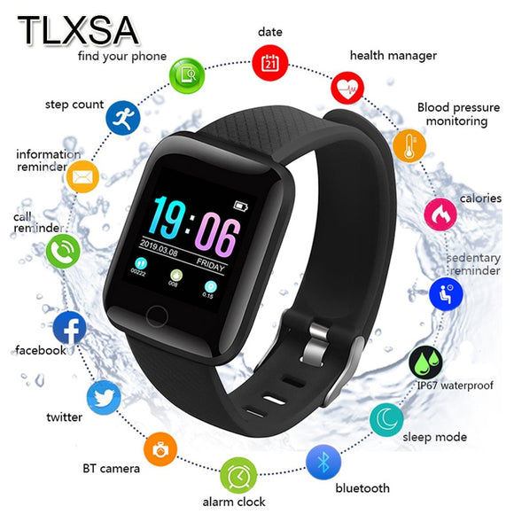 TLXSA Bluetooth Sport Pedometer Children Smart Watch Sleep Monitor Waterproof Smartwatch Kids Boy Gift Watches D13 Fit Android