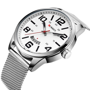 CURREN Silver Mesh Band Sport Military