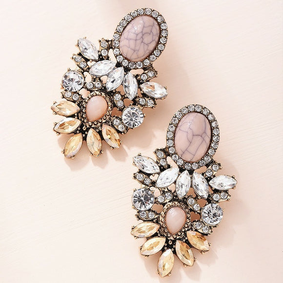 Pink Stone Crystal Flower Drop Earrings for Women Fashion Gold Rhinestones Earrings Modern Jewelry Gift
