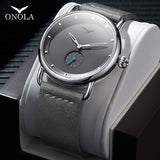 ONOLA Stainless steel simple men watch 2019 Genuine leather classy Wrist watch men fashion casual waterproof relogio masculino