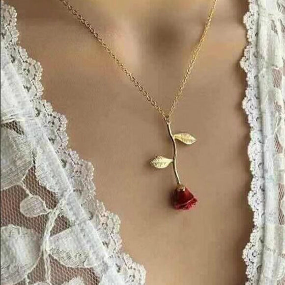 2019 Statement Alloy Rose Pendant Necklace 4 Color Women Jewelry Accessories Gold Chain Necklace for Women Memorial Day Gift