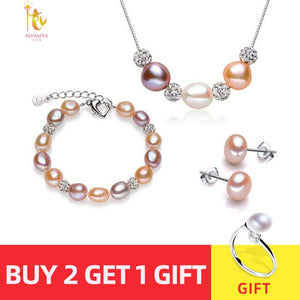 [NYMPH] Pearl Jewelry Set Real Fresh Water Pearl Necklace Bracelet Earrings Fine Jewelry Party For Women [set2002]