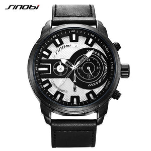 SINOBI Men's Multi-function Quartz Watch Creative Sports Wristwatch for Male Black Leather Watches with Auto Calendar