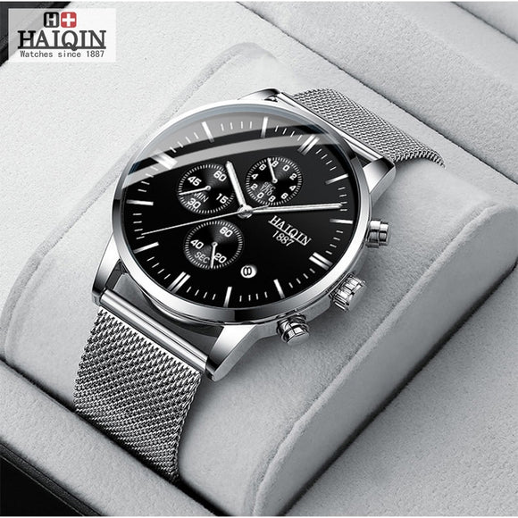HAIQIN Business Quartz Men's watches Top brand luxury Quartz watch sports wrist watch men mesh belt clock 2019 Relogio Masculino