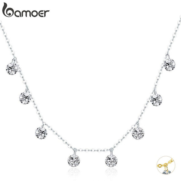 BAMOER Real 925 Sterling Silver Dazzling Cubic Zircon Round Circle CZ Pendant Necklaces for Women Sterling Silver Jewelry SCN299