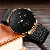 Relojes Hombre LIGE New Mesh Steel Men Watches Top Brand Luxury Ultra-thin Waterproof Quartz Watch Men Casual Sport Quartz Clock