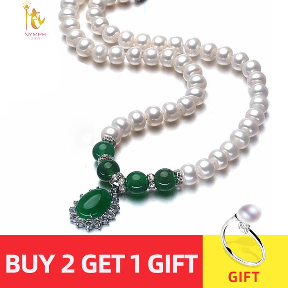 NYMPH pearl necklace jewlery Green agate natural pendant jewelry for Mother  X1213