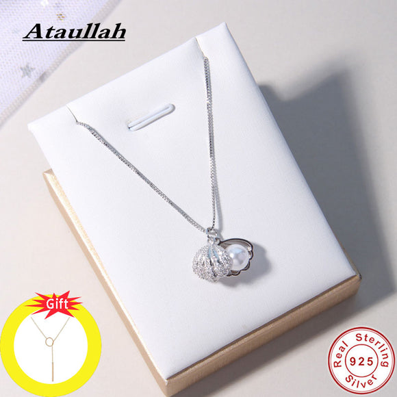 Ataullah Fashion Shell Pearl Necklace Simple Personality Sterling Silver 925 Jewelry Pendant Chain for Women Party Bijoux NW056