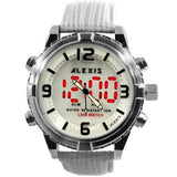 Alexis Fashion Men Analog Quartz Round Watch Digital Module Geninue Leather Strap White LED Dial Water Resistant AW808ABCDE