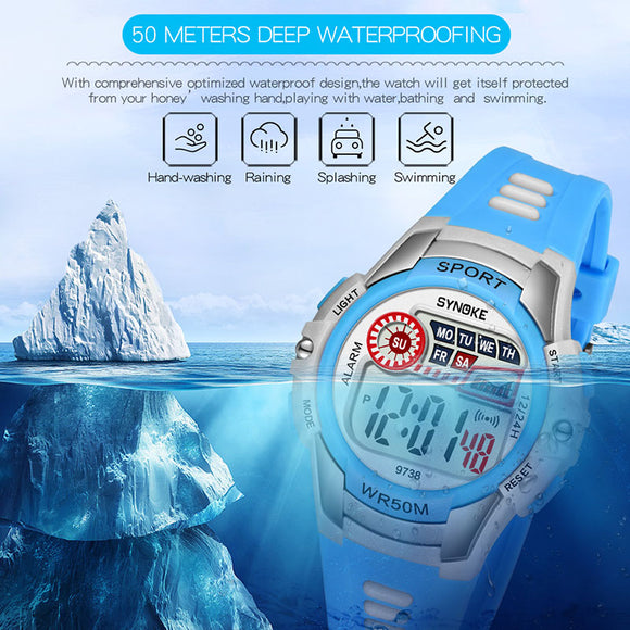 Droppshiping 1 Pcs Children Kids Student Digital Electronic Watch Waterproof Round Dial Adjustable Strap BFJ55